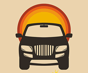 SUV graphic with sun image behind it