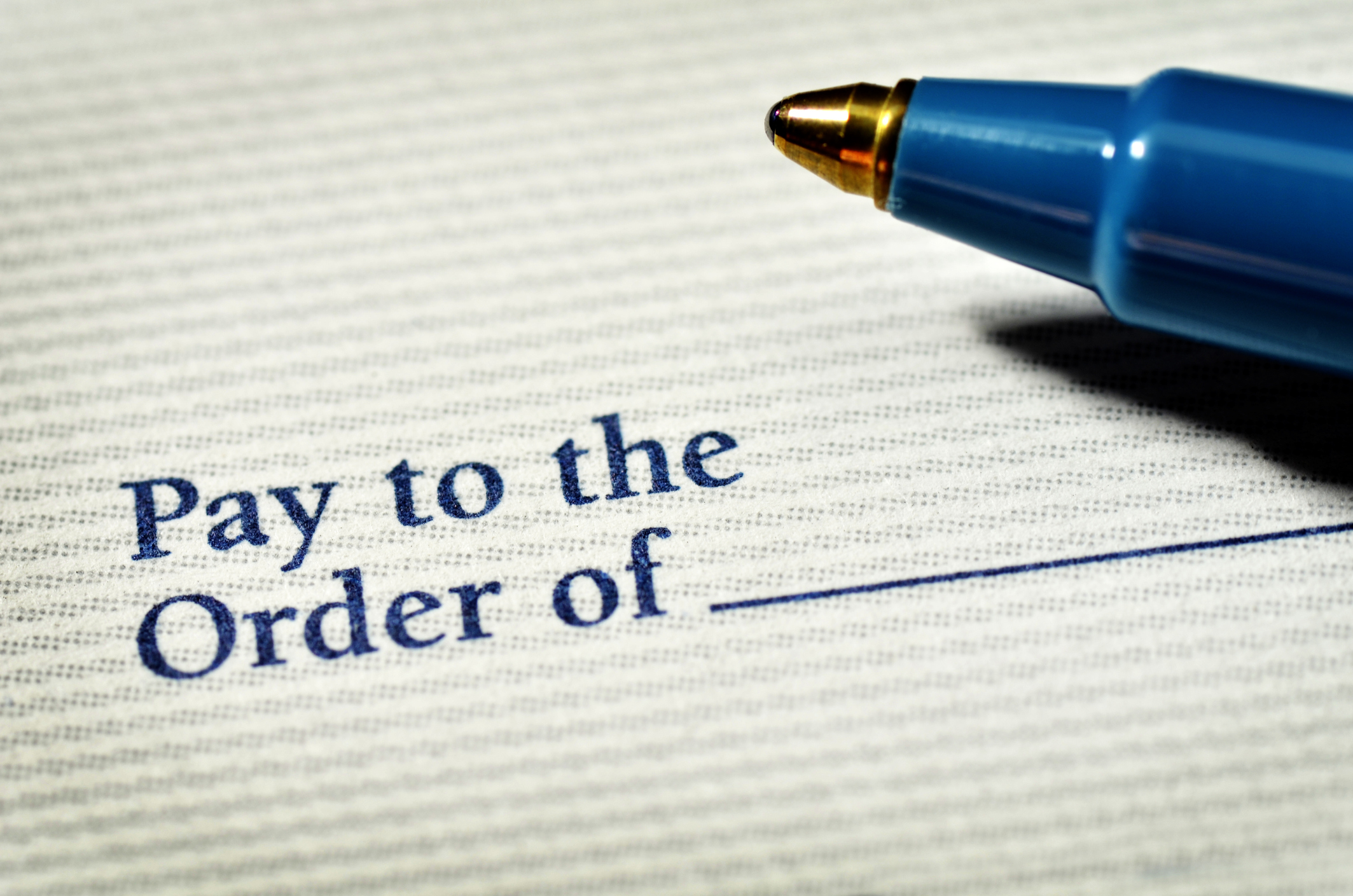 "Check ""pay to the order of"" blank field with ink pen"