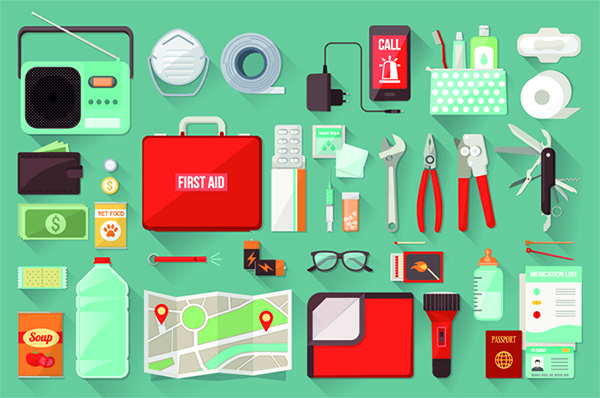 Items you'd find in a disaster recovery kit