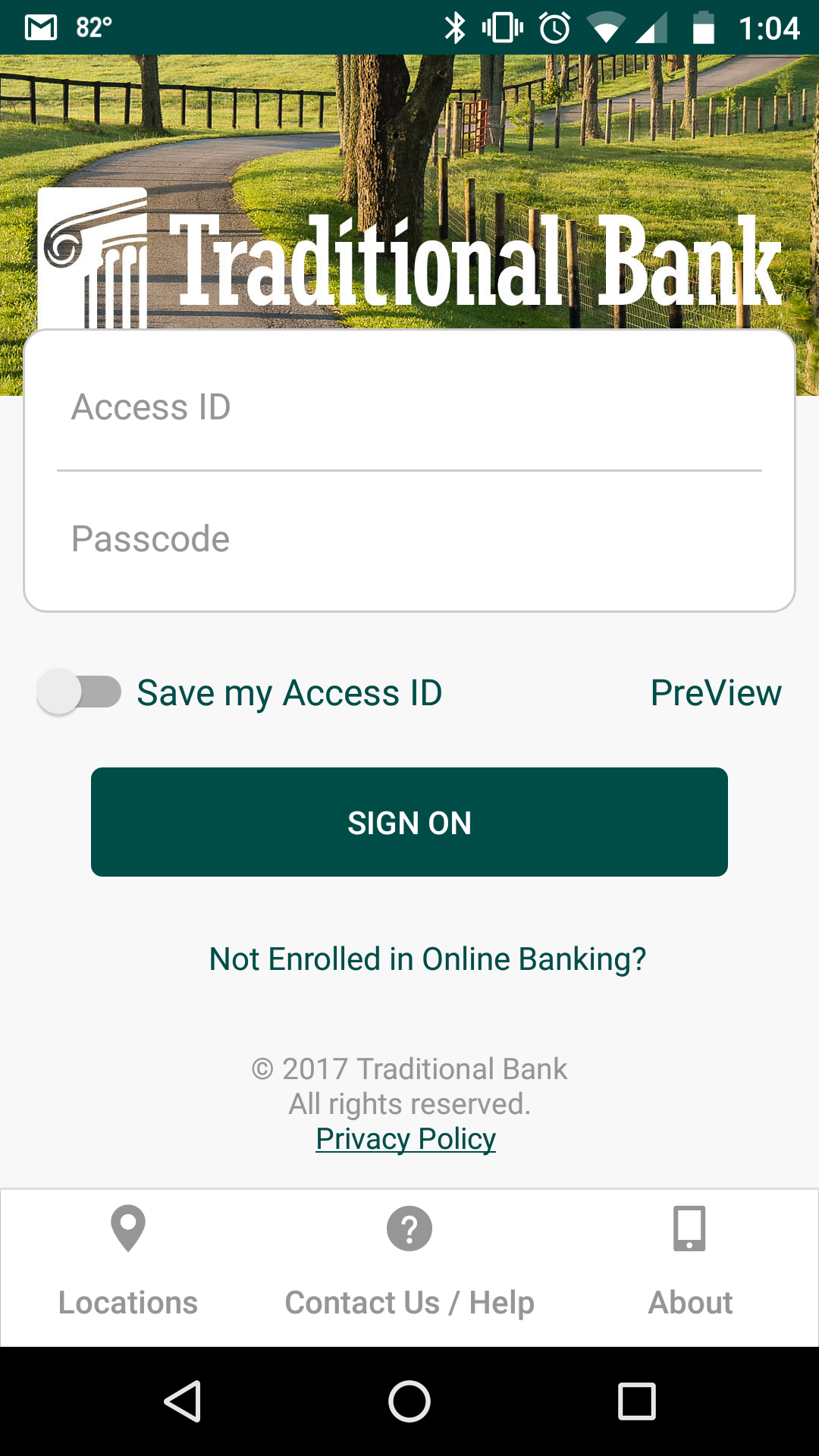 Mobile Banking Sign-on