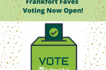 Frankfort Faves voting now open with voting box graphical illustration Banner