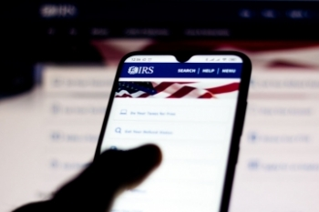 Mobile phone screen image of IRS website Banner