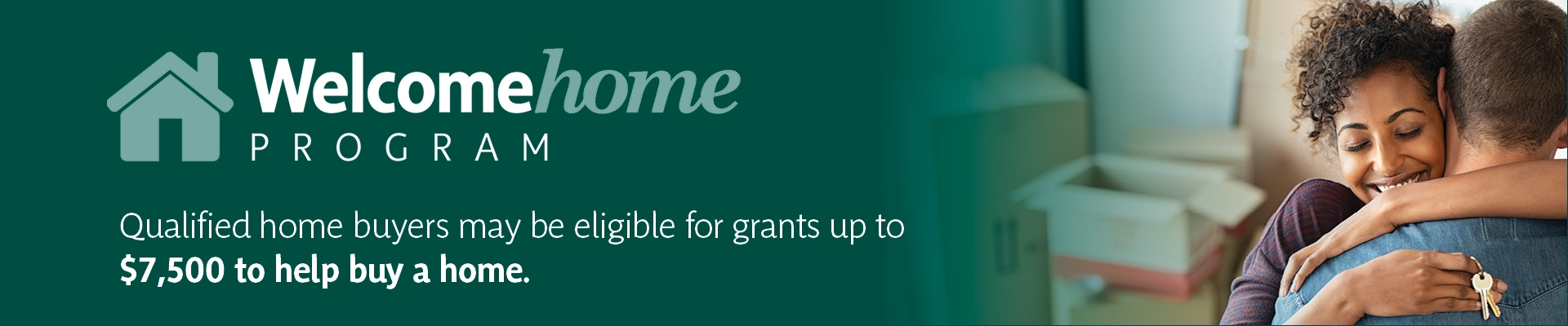 Welcome Home - Couple Hugging in New Home - Grants up to $7500 Banner