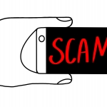 hand holding mobile phone with word SCAM on screen